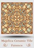 Mattonelle delle terraglie di faenza nel verde beige e verde oliva ed in terracotta di rosso Maiolica ceramica multicolore Terrag Fotografia Stock