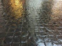 Mattonelle di pietra marroni scure bagnate sul pavimento immagini stock