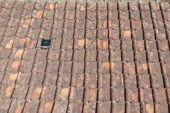 Mattonelle di tetto ammuffite di terracotta Immagini Stock