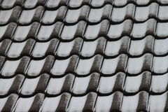 Mattonelle di tetto con la polvere della neve Immagine Stock Libera da Diritti
