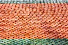 Mattonelle di tetto del fondo tailandese di struttura del modello del tempio Immagini Stock Libere da Diritti