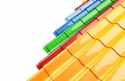 Mattonelle di tetto del metallo di colore Fotografie Stock