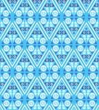 Mattonelle etniche monocromatiche blu senza cuciture del modello illustrazione di stock