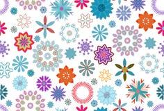 Mattonelle floreali del modello in blu, nella porpora e nel rosso sopra fondo bianco illustrazione di stock