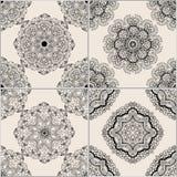 Mattonelle geometriche nere e beige Fotografia Stock Libera da Diritti