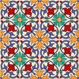 Mattonelle marocchine del modello senza cuciture splendido e portoghesi variopinte bianche, Azulejo, ornamenti Può essere usato p Immagine Stock