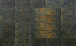 Mattonelle nere naturali della pietra dell'ardesia Fotografia Stock Libera da Diritti