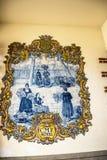 Mattonelle o azulejos che decorano il mercato, il DOS Lavradores di Mercado o il mercato dei lavoratori Fotografia Stock