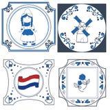 Mattonelle olandesi disegnate a mano Fotografia Stock Libera da Diritti