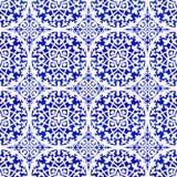 Mattonelle portoghesi di azulejo Modello senza cuciture dell'acquerello Fotografia Stock