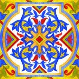 Mattonelle portoghesi di azulejo Modello senza cuciture dell'acquerello Immagini Stock Libere da Diritti