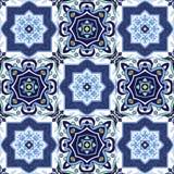 Mattonelle portoghesi di azulejo Senza cuciture splendido blu e bianco Immagini Stock