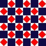 Mattonelle quadrate geometriche bianche blu modello senza cuciture semplice, vettore e di rosso illustrazione vettoriale