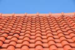 Mattonelle rosse di struttura del tetto Immagini Stock Libere da Diritti