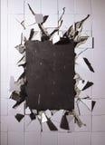 Mattonelle rotte della parete Fotografia Stock