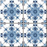Mattonelle senza cuciture d'annata della parete del caleidoscopio blu del controllo, marocchino, portoghese Fotografia Stock Libera da Diritti