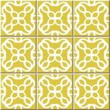 Mattonelle senza cuciture d'annata della parete del caleidoscopio rotondo giallo, marocchino, portoghese Fotografie Stock