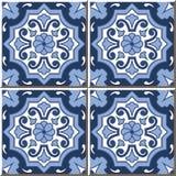Mattonelle senza cuciture d'annata della parete del fiore rotondo di tono blu, marocchino, portoghese Fotografie Stock