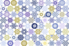 Mattonelle senza cuciture della rappezzatura con i motivi vittoriani in blu ed in beige Immagine Stock