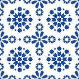 Mattonelle senza cuciture geometriche di Azulejos del modello, progettazione blu portoghese delle mattonelle, fondo astratto senz Fotografia Stock