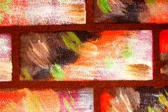Mattoni colorati multi decorativi dipinti di imitazione della parete Fondo luminoso astratto fatto a mano per progettazione fotografia stock libera da diritti