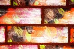 Mattoni colorati multi decorativi dipinti di imitazione della parete I graffiti fatti a mano sottraggono il fondo luminoso per pr fotografie stock libere da diritti