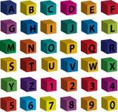 Mattoni - lettere nere dalla facciata frontale Immagini Stock Libere da Diritti