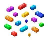 Mattoni variopinti differenti di lego nella vista isometrica isolati su bianco illustrazione vettoriale