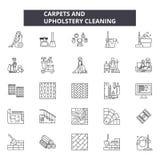 Mattor och rengörande linje symboler, tecken, vektoruppsättning, översiktsillustrationbegrepp för stoppning royaltyfri illustrationer