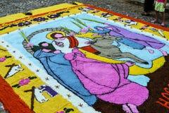Mattor som firar den heliga veckan, El Salvador Arkivfoton