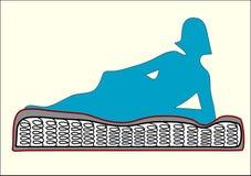 Mattress. Blue woman rest on mattress Royalty Free Stock Image