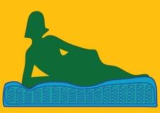 Mattress. Woman rest on mattress illustration Royalty Free Stock Photos