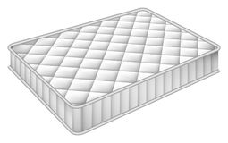Mattress bed mockup, realistic style. Mattress bed mockup. Realistic illustration of mattress bed vector mockup for web design isolated on white background stock illustration