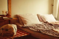 Mattress On Floor handmade concept idea for decoration cozy bedroom in apartment.  stock photos