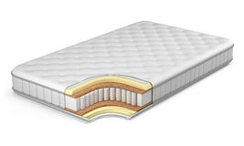 Mattress. Isolated on white - 3d render Royalty Free Stock Photo