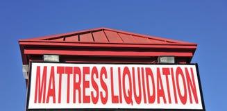 Mattress Liquidation Shop. A sleep shop sells mattresses at liquidation prices Royalty Free Stock Photo