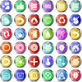 Mattress and pillow icons. Set of 36 colorful round icons for mattresses and pillows Royalty Free Stock Image