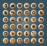 Mattress and pillow icons. Set of 36 round icons for modern mattresses and pillows Royalty Free Stock Photography