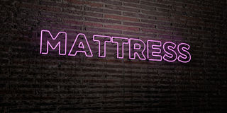 MATTRESS -Realistic Neon Sign on Brick Wall background - 3D rendered royalty free stock image Royalty Free Stock Photography