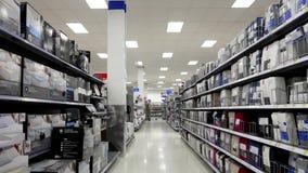 Mattress sheet and topper corridor. In Walmart store stock video