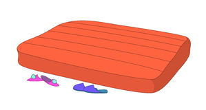 Mattress and slippers. Empty red mattress both man's and female slippers Royalty Free Stock Photo