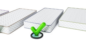 Mattress and tick sign  on white background. 3D illustration.  Stock Photos