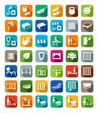 Mattresses, beds, mattress covers, colored icons with shadow. Stock Photo