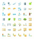 Mattresses, beds, mattress covers, colored icons. Stock Photos