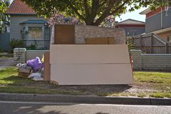 Mattresses and miscellaneous hard rubbish for recycling by council royalty free stock photography
