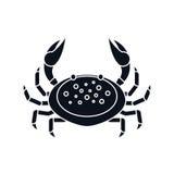 Mattschwarzkrabbe auf weißem Hintergrund - vector Illustration Meerwasser-Tierikone Stockfotografie