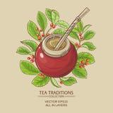 Mattt te i kalebass stock illustrationer