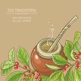 Mattt te i kalebass vektor illustrationer