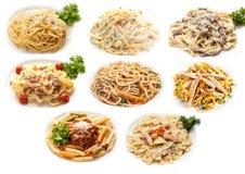 Matuppsättning av olik pasta Arkivfoto