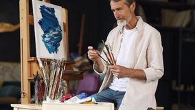 Mature adult painter checking brushes. In his studio sitting at easel stock video footage
